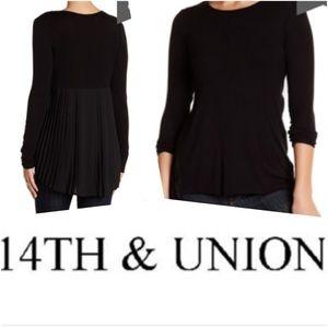 14th & Union Black Pleat Blouse